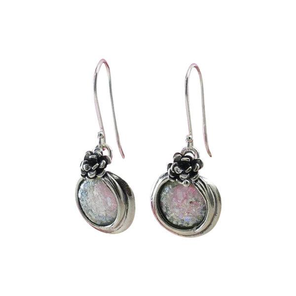 Øreringe med rose og romersk glas