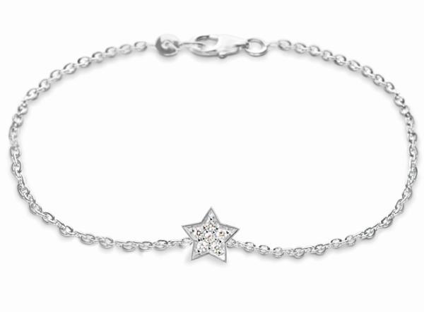 Ole Lynggaard Armbånd 18 karat hvidguld anker 40 Star lille 6 brill i alt 0.095ct TW.VS blank (16 cm)