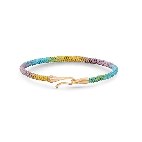 Ole Lynggaard Life Special Edition armbånd i Rainbow nylon med guld krog