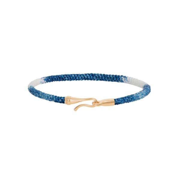 Ole Lynggaard Life armbånd i blå nylon med 18 kt. guld krog