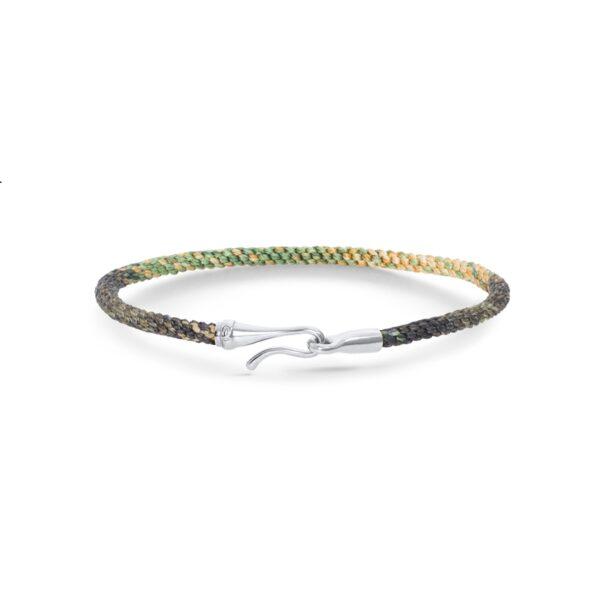 Ole Lynggaard Life armbånd i grøn nylon med sølv krog