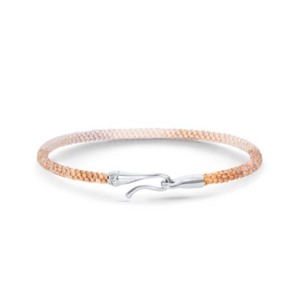 Ole Lynggaard Life armbånd i gylden nylon med 18 kt. hvidguld krog