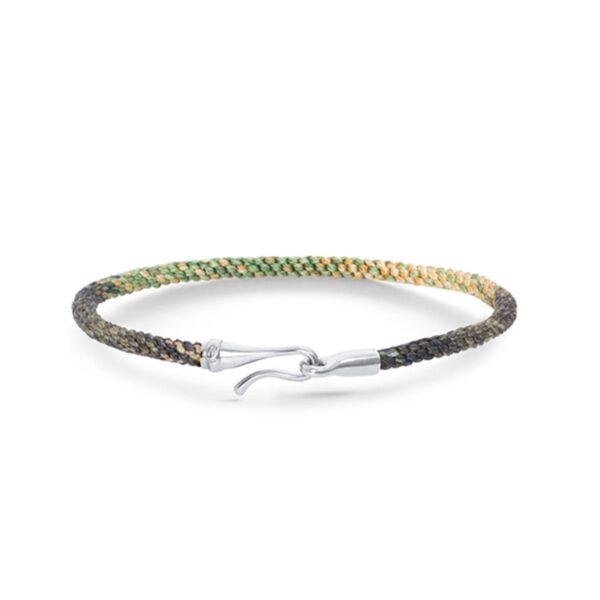 Ole Lynggaard Life armbånd i safari nylon med 18 kt hvidguld krog