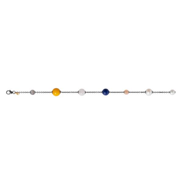 Ole Lynggaard armbånd i sølv med Mix Sten 18cm