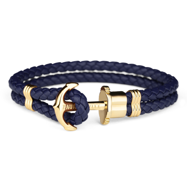 Paul Hewitt navy flettet læderarmbånd med blank guldfarvet anker