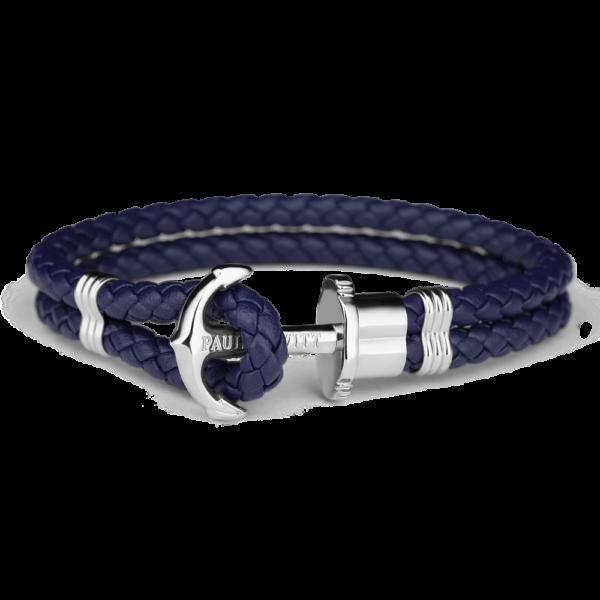 Paul Hewitt navy flettet læderarmbånd med blank stål anker