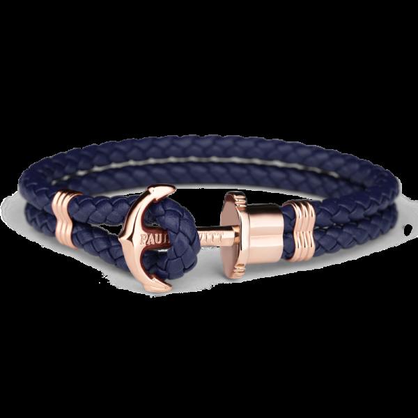 Paul Hewitt navy flettet læderarmbånd med rosaguldfarvet anker