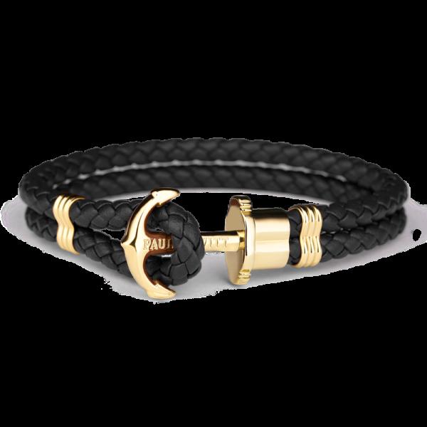 Paul Hewitt sort flettet læderarmbånd med blank guldfarvet anker