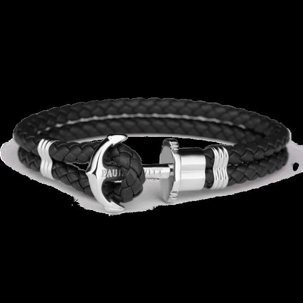 Paul Hewitt sort flettet læderarmbånd med blank stål anker