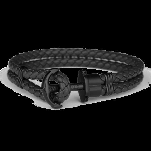 Paul Hewitt sort flettet læderarmbånd med mat sort anker