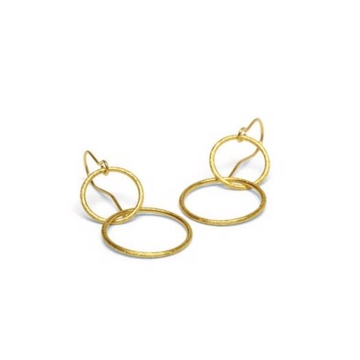 Pernille Corydon - Double Plain Ear Hooks Øreringe i forgyldt Sølv