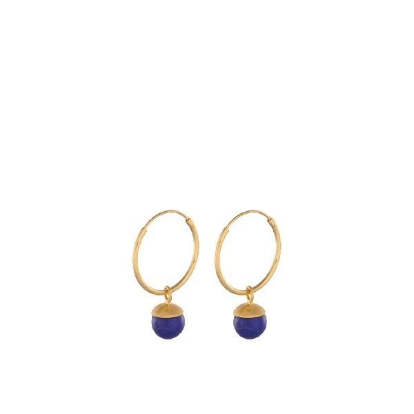 Pernille Corydon - Lapis Lazuli Hoops i forgyldt sølv**