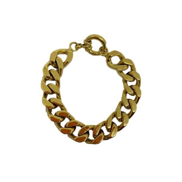 Plissé Copenhagen Punk chain slim armbånd - Gold