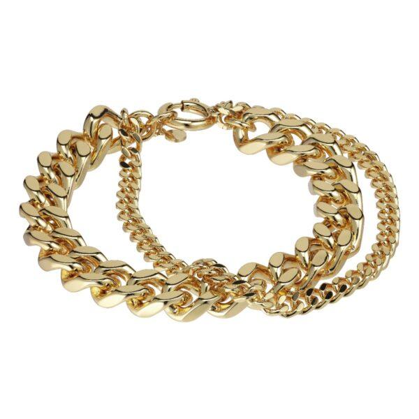Plissé Copenhagen Roxy punk bracelet armbånd, Gold - M/L 21cm