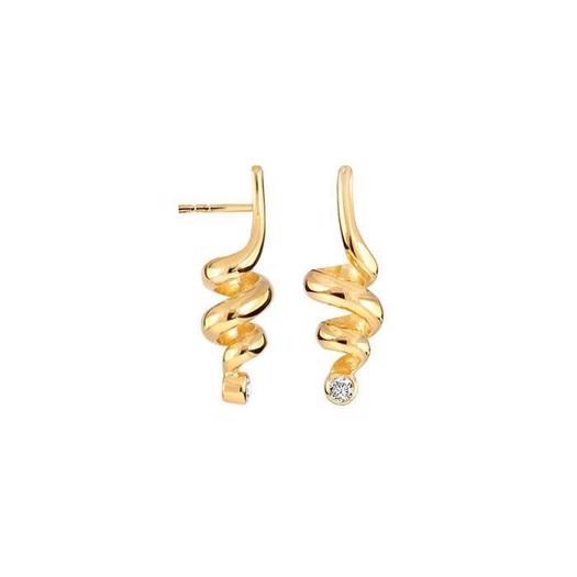 Rabinovich Curly Diva - Forgyldte øreringe med zirkonia