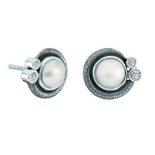 Rabinovich Devine White - Sølv Øreringe med perler og zirkonia