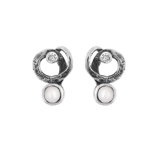 Rabinovich - Glamorous Pearl sort sølv ørestikker