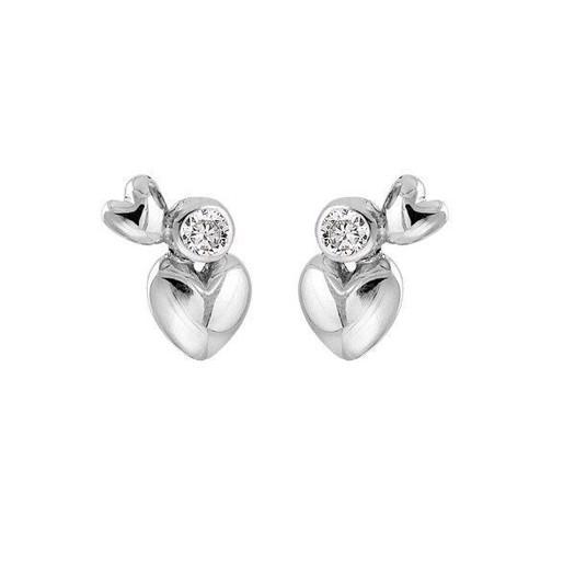 Rabinovich Heart Alliance - Sølv hjerte Øreringe med zirkonia