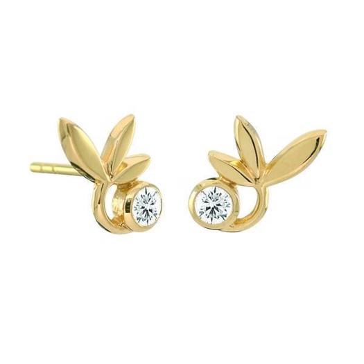 Rabinovich Leafy Glaze - Forgyldte sølv øreringe med en zirkonia