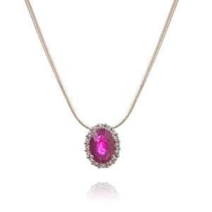 Rosetvedhæng i 14 kt hvidguld med rubin og 16 brillanter inkl. sølvkæde