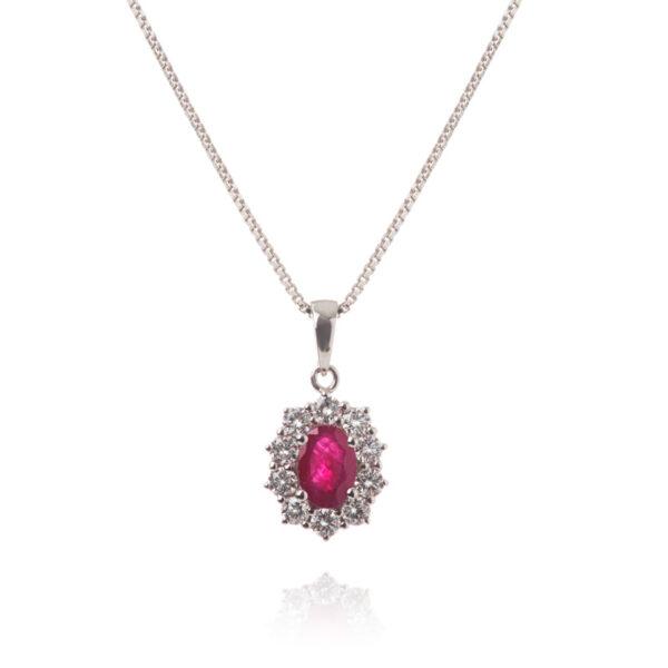 Rosetvedhæng i 14 kt hvidguld med rubin og brillanter inkl. sølvkæde