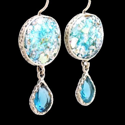 Runde øreringe med blå zirkon sten og romersk glas
