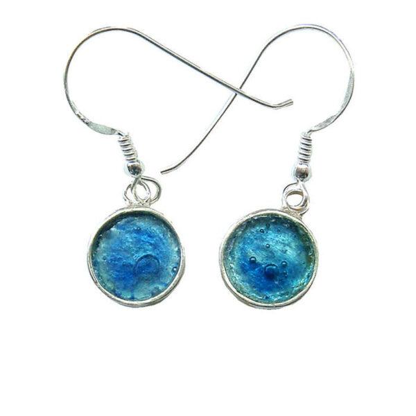 Runde øreringe med romersk glas i sølvrammen
