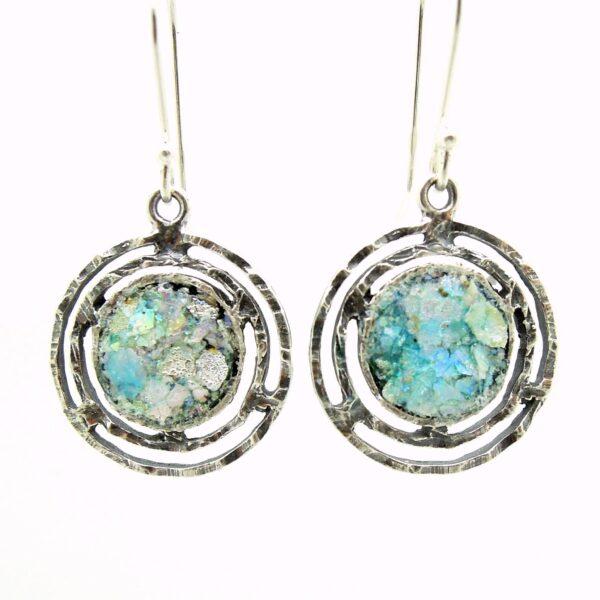 Runde øreringe med romersk glas og sølvkanter