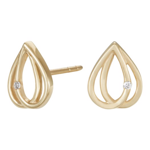 SIERSBØL 8 kt. Guld øreringe med zirkon