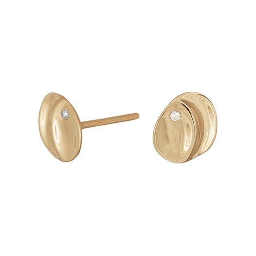 SIERSBØL 8 kt. Guld ørestikker med 1 zirkonia sten