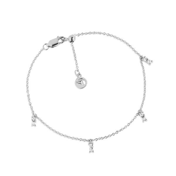 SIF JAKOBS PRINCESS BAGUETTE armbånd I sølv med sølv zirkoner