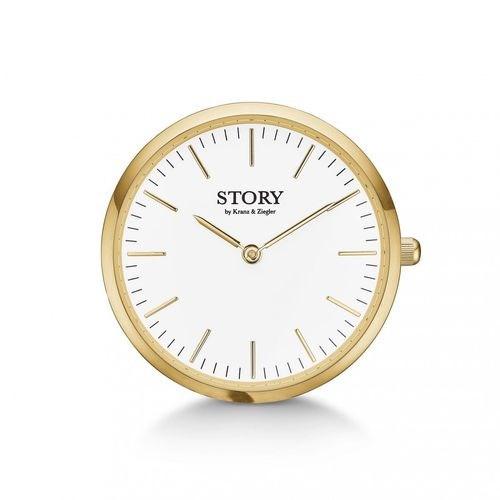STORY - Ur charm med gulddublé og hvid urskive**