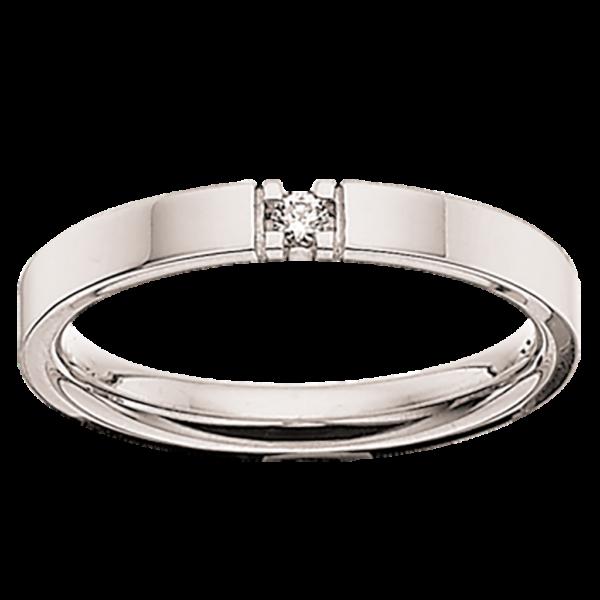 Scrouples Grace Alliance 9 Karat Hvidguld Ring med Diamant 0,04 Carat W/SI