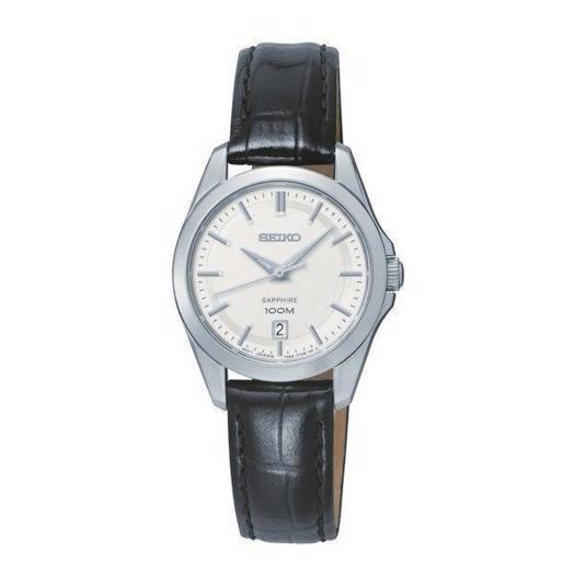 Seiko dameur - Classic ur med sort læderrem SXDF55P2
