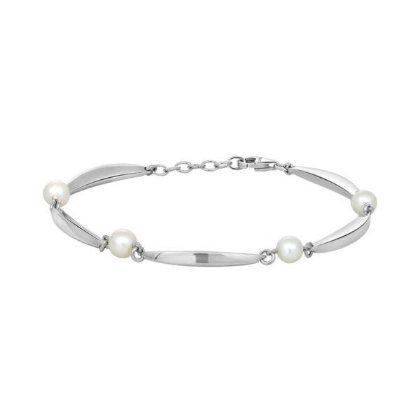 Siersbøl Banan & Perle armbånd sølv, 16,5+2 cm