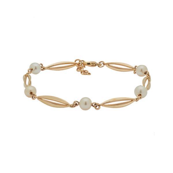 Siersbøl Bur & Perle armbånd 14 kt guld, 18+2 cm