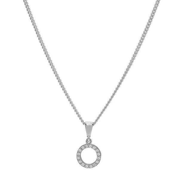 Siersbøl - Cirkel vedhæng i 8 kt hvidguld incl. kæde**