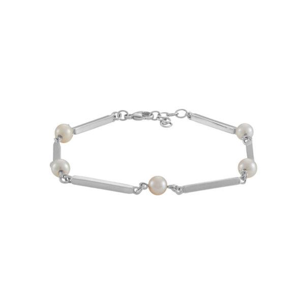 Siersbøl Pind & Perle armbånd sølv rhodineret, 18,5+2cm