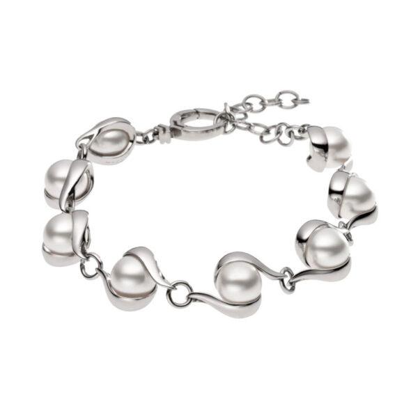 Skagen Agnethe armbånd i stål med perler