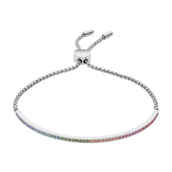 Skagen Elin Rainbow stål armbånd med farvede krystaller