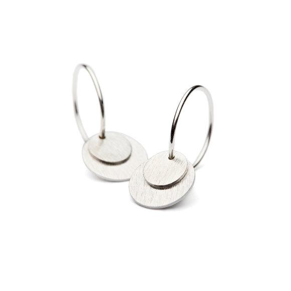 Small Coin Earring   Sølv Fra Pernille Corydon