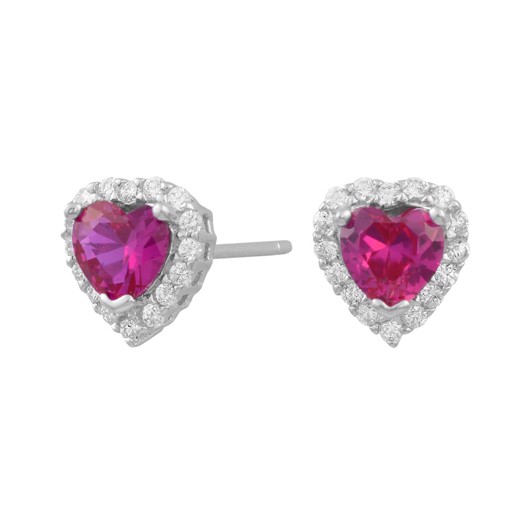 Sølv hjerte ørestikker m. zirkonia og synt. pink safir