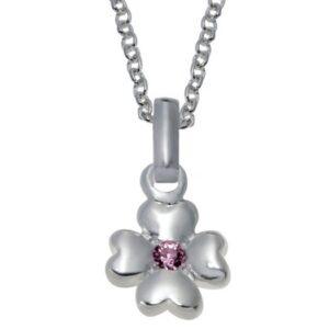 Sølv vedhæng med blomst og lyserød zirkonia sten