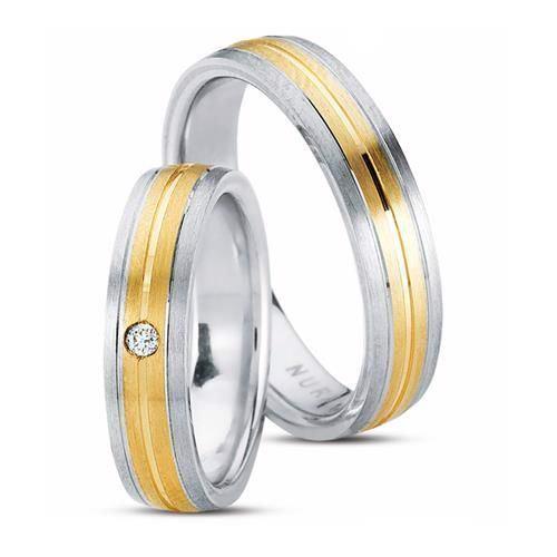 Sølvringe med 14 kt. guldbånd og en 0,03 kt. brillant