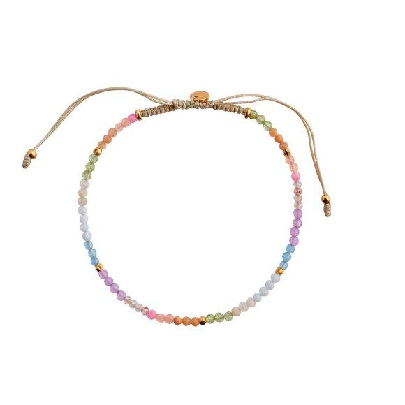 Soft Rainbow Mix With Sandy Grey Ribbon Bracelet Fra Stine A