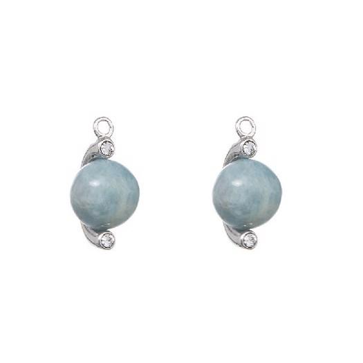 Spinning Jewelry water drop i sølv med agua kalcedon