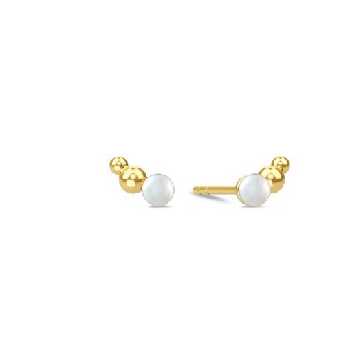 Spinning jewelry - forgyldt sølv ørering, Open Pearl ørestik