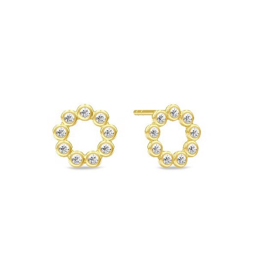 Spinning jewelry - forgyldt sølv ørering - WHITE STAR