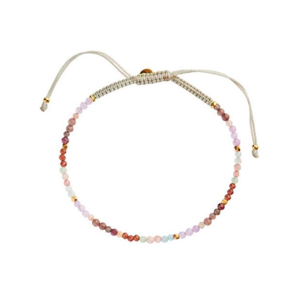 Stine A Candy Bracelet Light Rainbow Mix & Khakigreen Ribbon