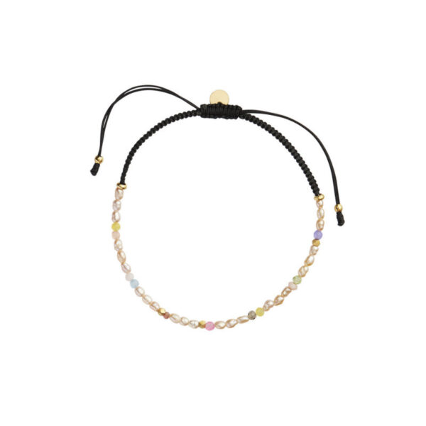 Stine A Confetti Pearl Bracelet Beige And Pastel Mix & Black Ribbon